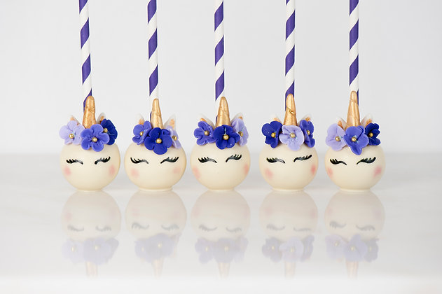 Unicorn Cake Pops with Decorative Straws - 1 Dozen
