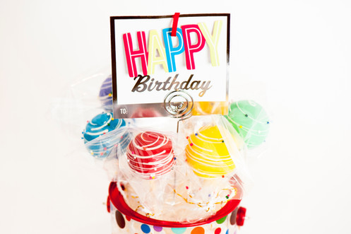 The Happy Birthday Bucket Includes 6 Rainbow Colored Gourmet Cake Pops And A Greeting Card May Vary Depending On