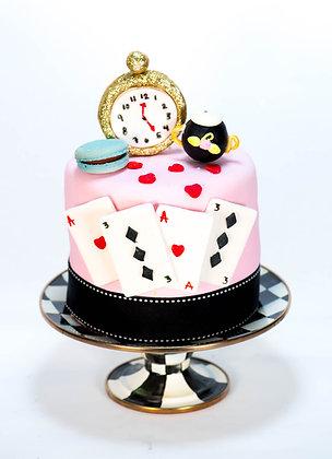 Alice in Wonderland Inspired Cake - 6 inch round (feeds 8-10)