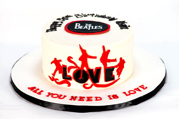 "Beatles ""Love"" Cake - 6 inch round (feeds 8-10)"