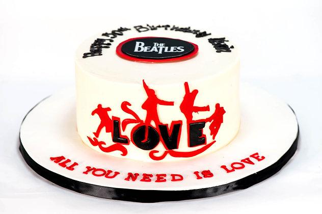 "Beatles ""Love"" Cake - 6 inch round (feeds 8-10)"