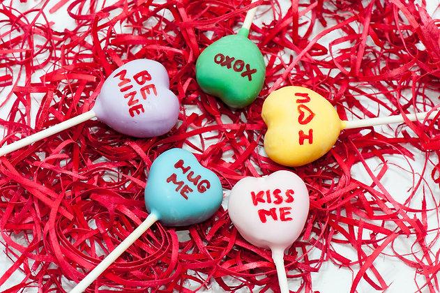 Conversation Hearts Cake Pops - 1 dozen