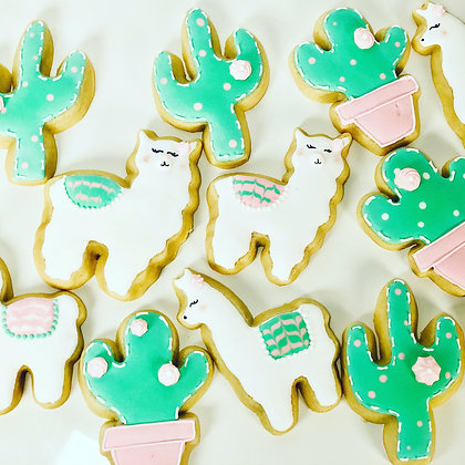 Alpaca and Cactus Sugar Cookies - 1 dozen