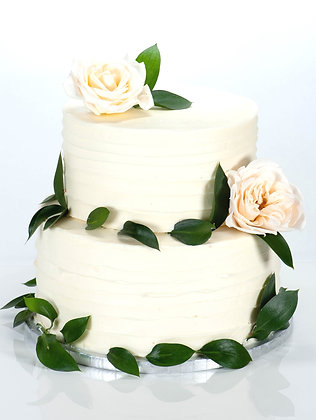 Two-Tier White Floral Cake