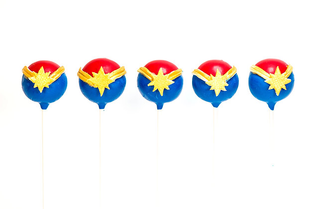 Captain Marvel Cake Pops - 1 Dozen