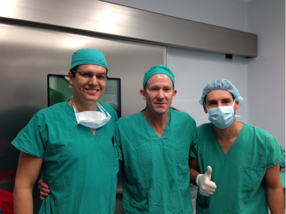Fernando Contrares (left) with Dr. Stetson (center) and their Costa Rican colleague in the operating room after using the arthroscopic equipment donated by Operation Arthroscopy.