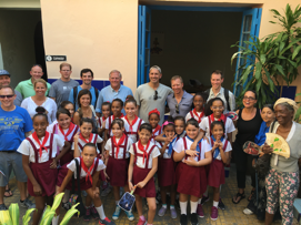 U.S. volunteers from Operation Arthroscopy spent a half day visiting a day care center for older adults which has volunteers from the local grammar school help out after school.