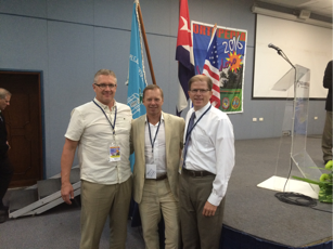Dr. Mark Deibert (left), Dr. Scott Richardson (center) and Dr. Blake Boggess (right), all graduates of Duke University are seen here after the Congress has been completed as a tribute to their professor and mentor, Dr. John Feagin.