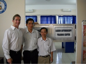 Dr. Rassman, Dr. Ngyuen and colleague with equipment from Operation Arthroscopy which helped start the Saigon Arthroscopy Training Center. This center has helped training orthopaedic surgeons in shoulder and knee arthroscopy.
