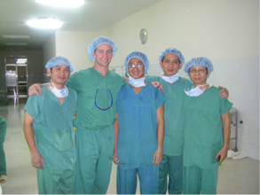 Dr. Rassman is seen at the top picture with Dr. Ahn Ngyuen of Vietnam performing arthroscopic shoulder surgery with donated equipment from Operation Arthroscopy and below with Dr. Ngyuen and his colleagues.
