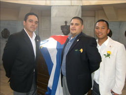 Volunteers Victor Mejia, RN (left), Daved Diaz, RST (center) and Renato Patiag, RN (right) pictured here at the tomb of the unknown soldier in Santiago de Cuba in 2009. They are an integral of our volunteer team of nurses and doctors.