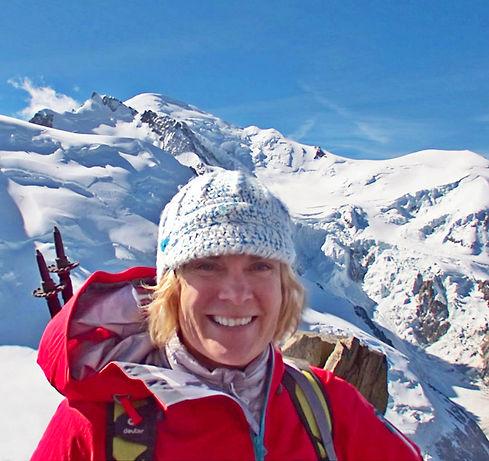 Keneta Anderson on the Aiguille du Midi