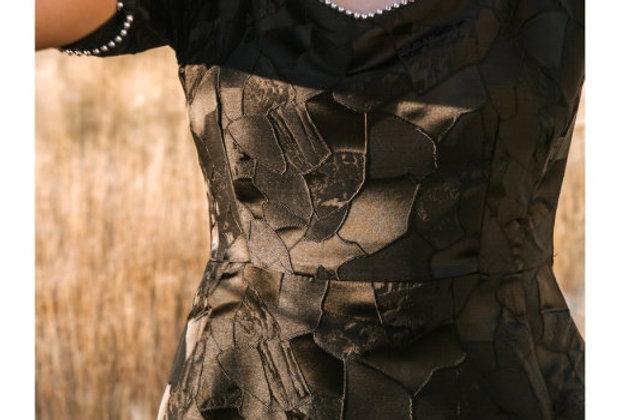 Платье мини с тесьмой бусины