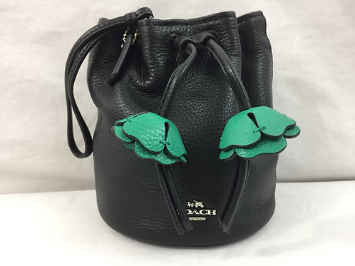 COACH Pebbled Leather Wristlet with Green Petal Embellishments - Black