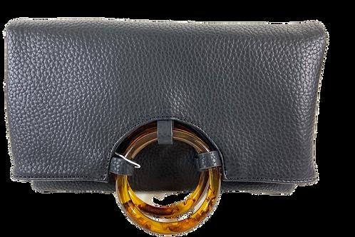 Vegan Leather Bi-Fold Clutch - Black