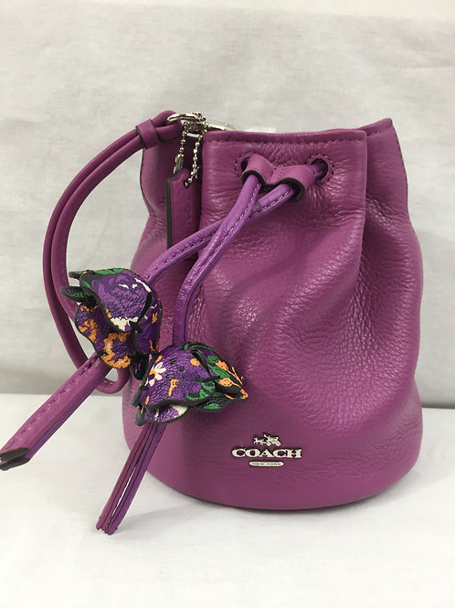 COACH Pebbled Leather Wristlet with  Petal Embellishments - Purple