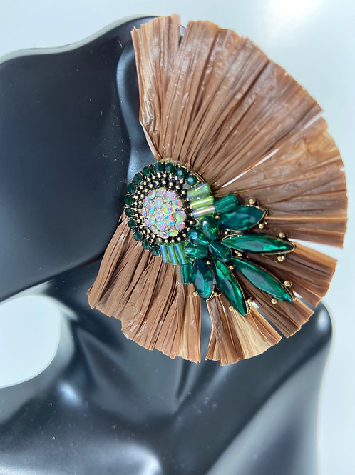 Brown Fringe Earrings w/ Emerald Green Crystals