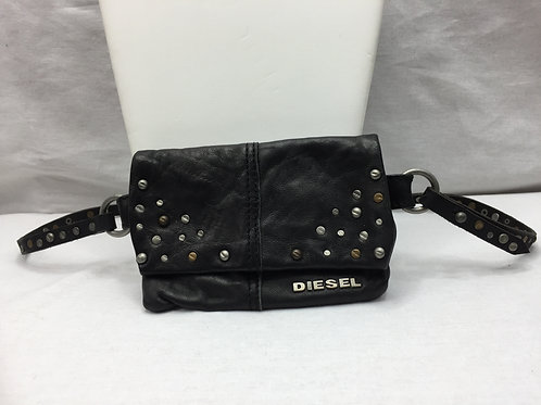 Diesel Skinny Pouch Belt with Silver Accents