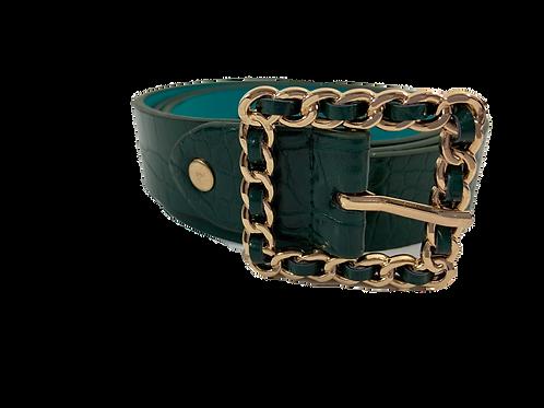 Croc Printed Waist Belt W/ Gold Buckle - Green