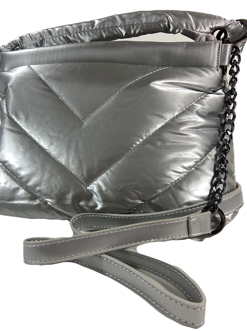 Quilted Crossbody - Silver