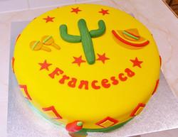 Mexican yellow fondant cake