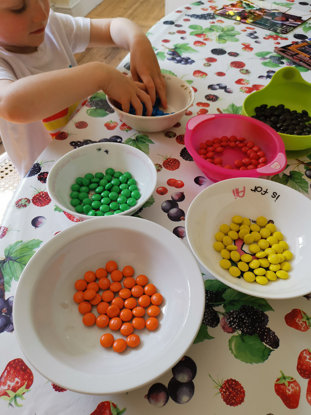 M&Ms sorted into colours
