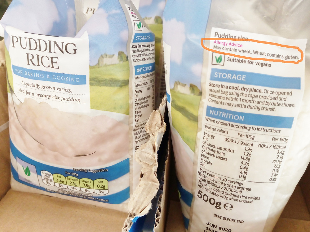 Pudding rice may contain wheat