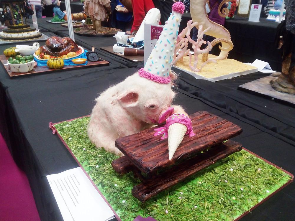 Sugar pig eating icecream