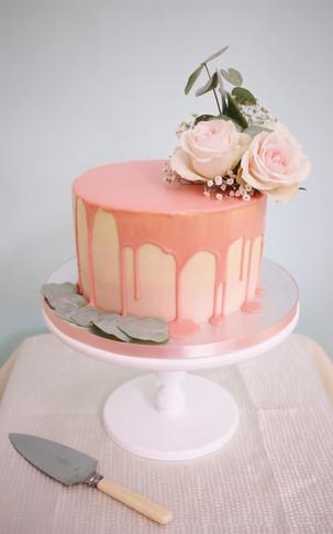 Pink ganache drip cake