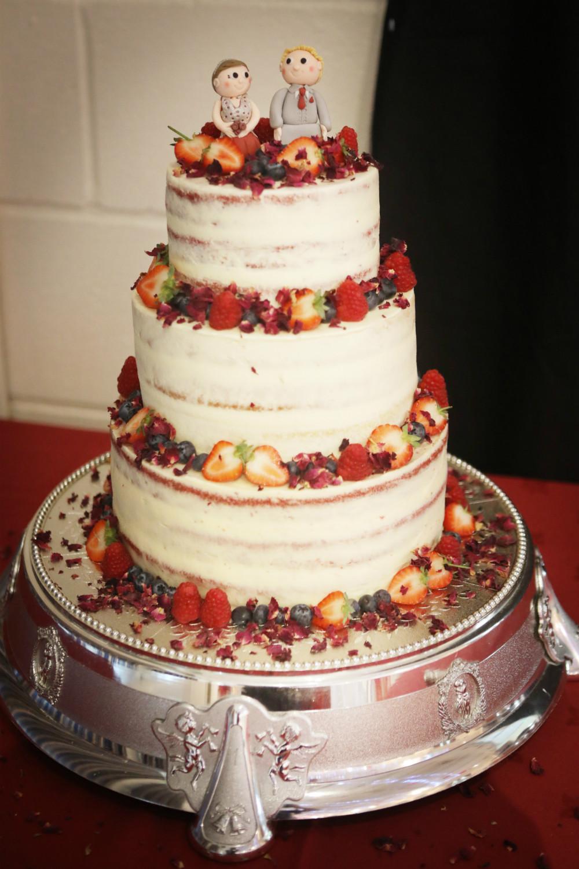 Red Velvet Wedding Cake.Red Velvet Semi Naked Wedding Cake