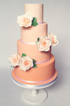 Peach ombre 4 tier wedding cake