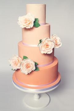 Peach ombre 4 tier wedding cake.jpg