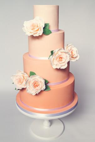 Peach ombre 4 tier wedding cake