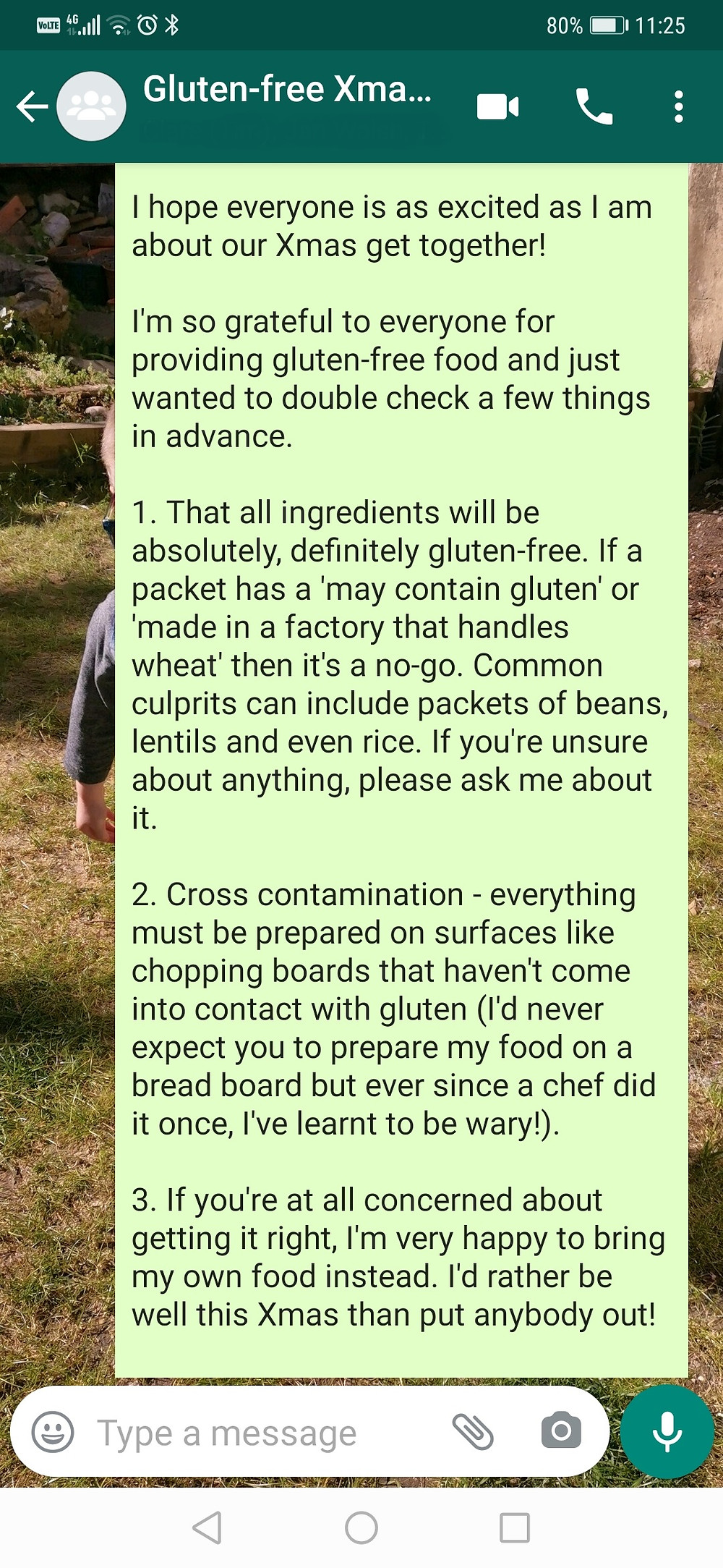 Gluten-free Xmas WhatsApp message
