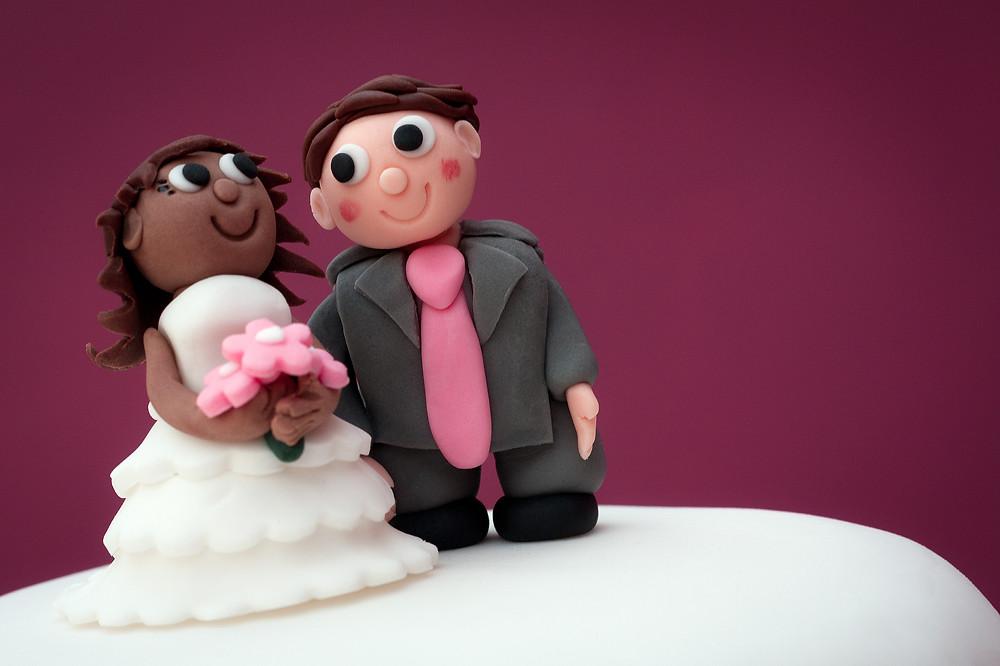 Bride & groom fondant toppers