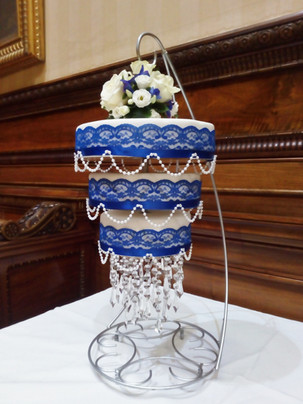 Blue lace chandelier cake