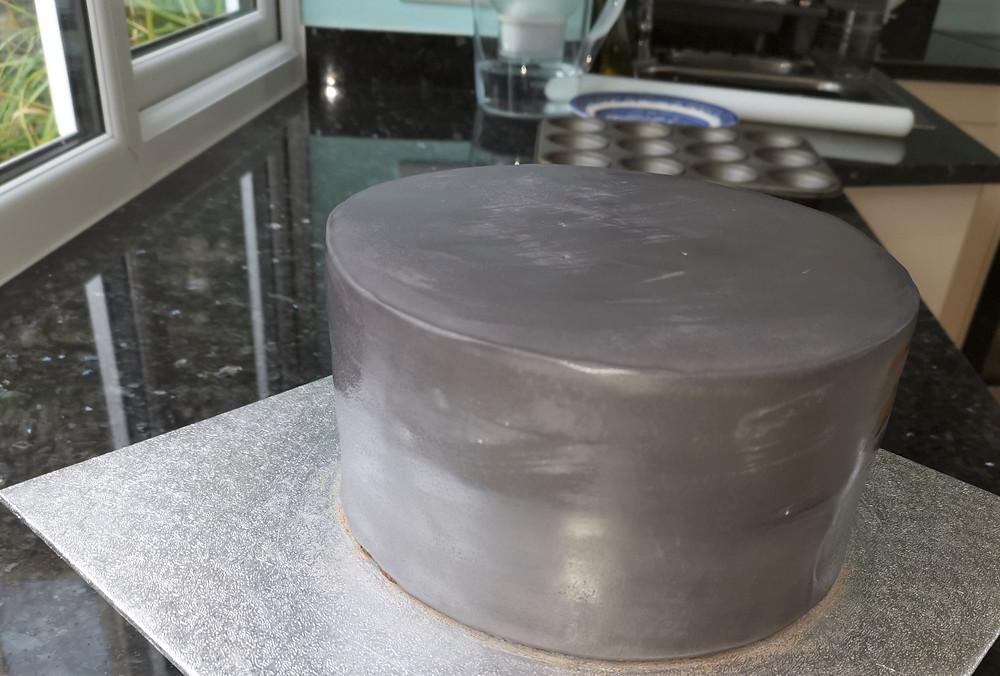 Grey icing on vegan cake