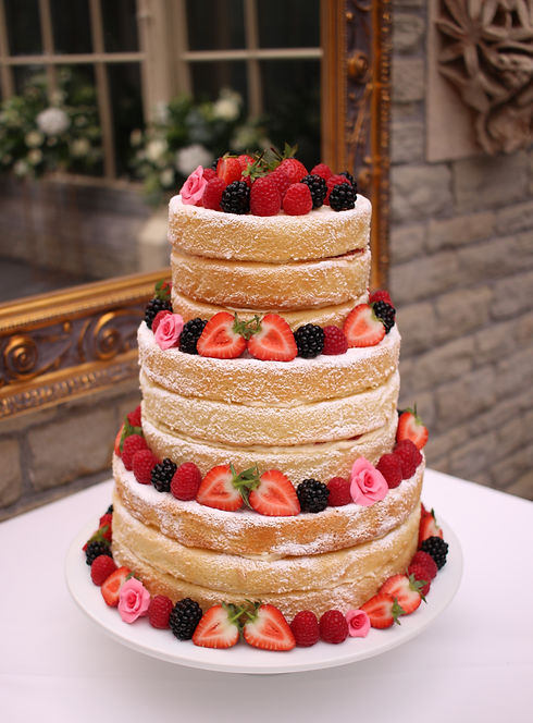 3 tier dairy-free wedding cake with fres
