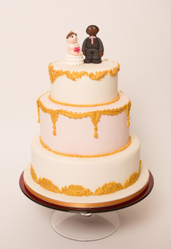 Gold & pink wedding cake