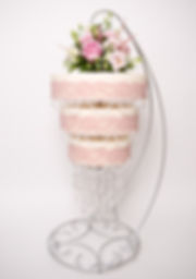 Pink chandelier wedding cake