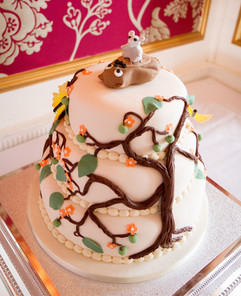 Tree wedding cake with floating butterflies