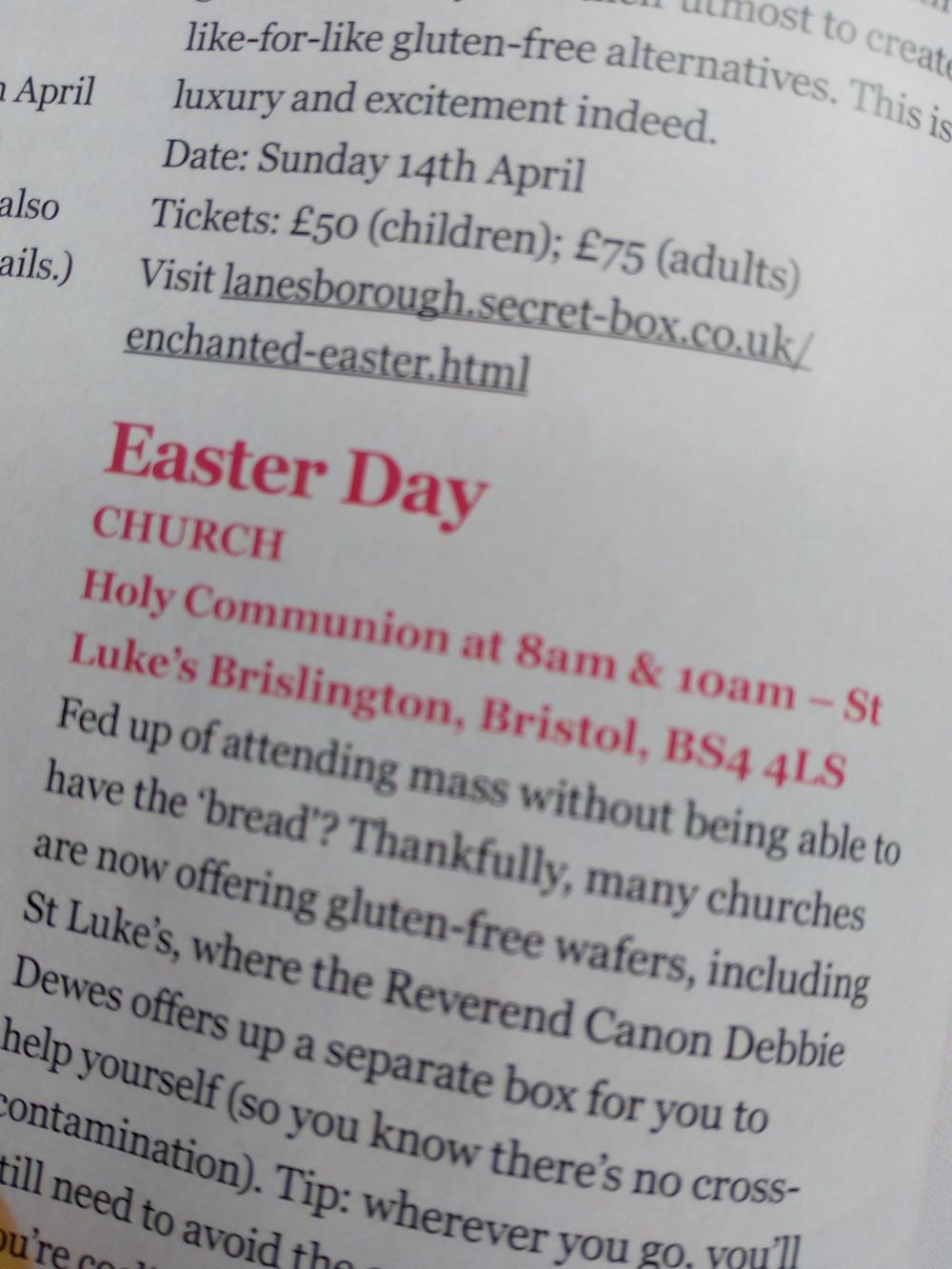 St Luke's Church in Brislington offers gluten-free wafers