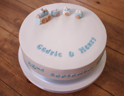 Christening cake with train