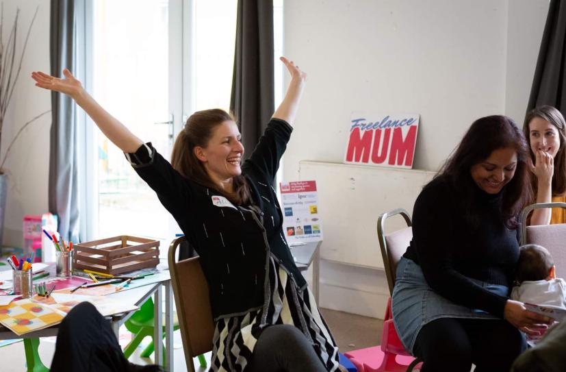 A euphoric moment at Freelance Mum!