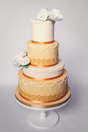Gold lace & white peony wedding cake