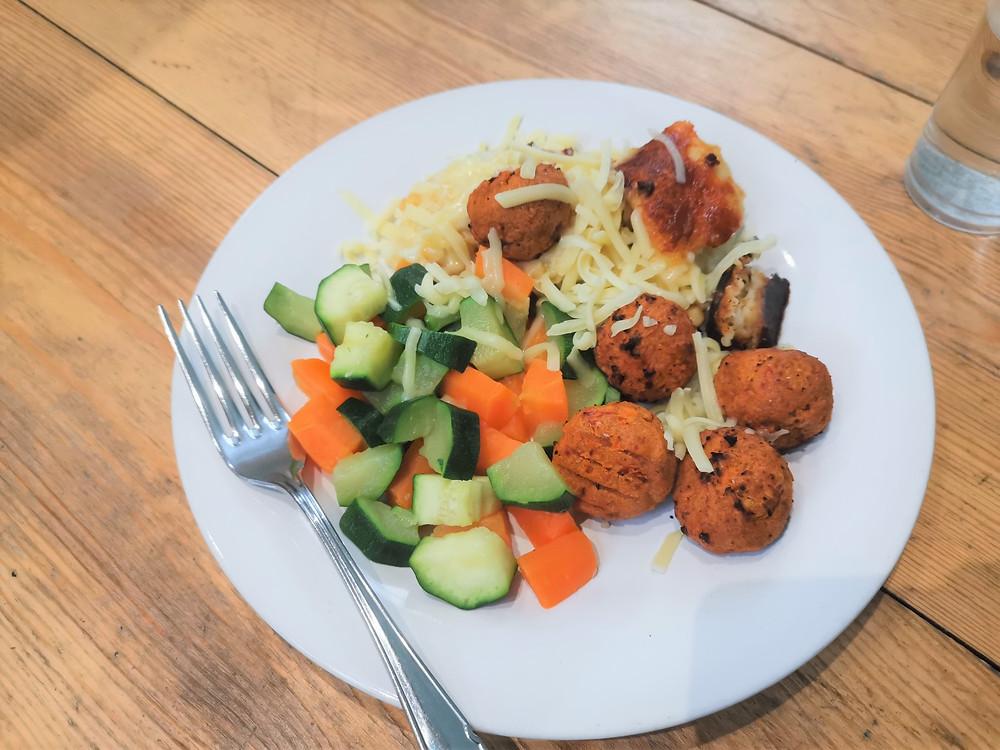 Pakora with cauliflower cheese and steamed veg