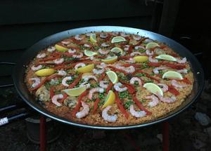 The giant paella we enjoyed at Blackdown Yurts