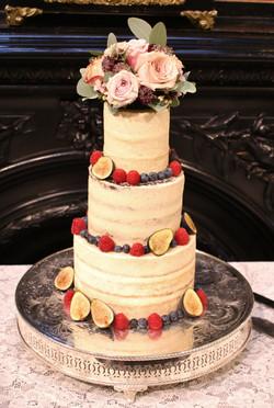 3 tier semi-naked wedding cake