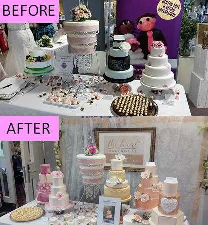 Before & after wedding cake table setup