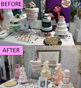 Before & after wedding cake table setup
